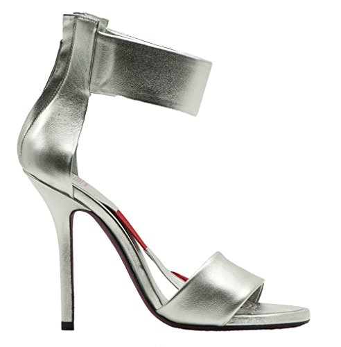 Amanda Gregory Silver Leather Two Band Sandal Size 40 4U08842KJs
