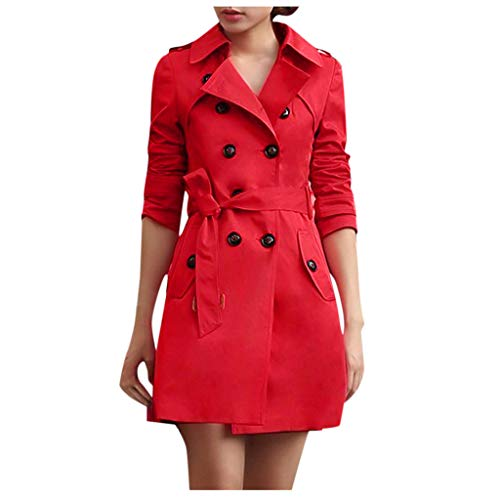 iYYVV Women Slim Fit Windbreaker Double Breasted Long Trench Coat Jacket Overcoat Outwear Red