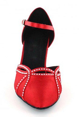 Tda Donna Tacco A Spillo Singolo Raso Scarpe Da Ballo Latino Scarpe Da Sposa Rosso-7,5cm Tacco