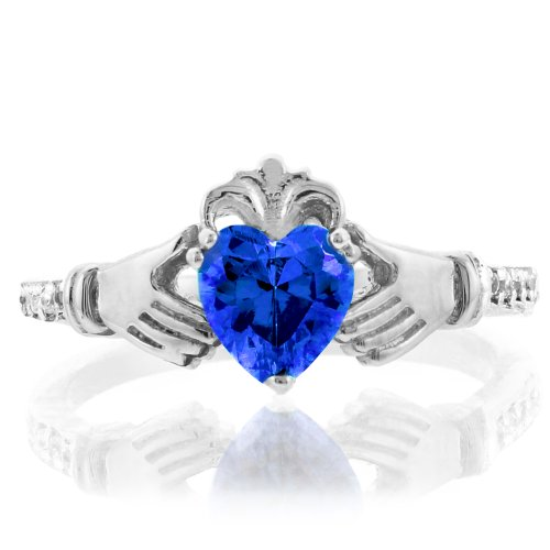 14k White Gold September Birthstone CZ Heart Claddagh Ring with Natural Diamonds (Size 6)