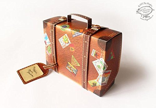 DIY Snap-fit Gift Box: Travel Suitcase - BROWN