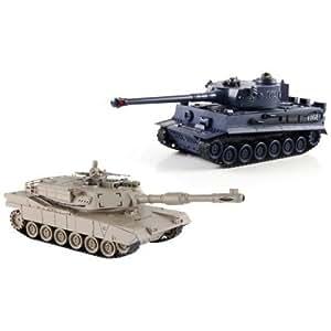 Zegan 99822.0 - Tanque, 2 unidades, 1/28RC Panzer, 7funciones, 36cm de largo, color beige y azul