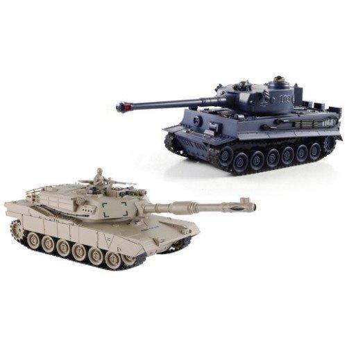 Zegan 99822.0 - 2 x Tank, 1/28 RC Panzer, 7 Funktionen, Fahrzeug, 36 cm lang, beige/blau