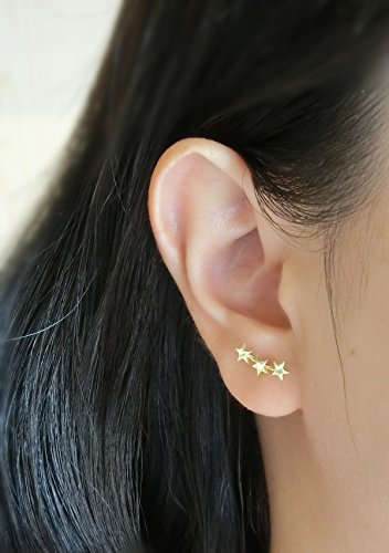 f096c760f YAN & LEI Sterling Silver Triple Stars Stud Earrings Sweep Up Ear Climber  Cuff Wrap Crawler