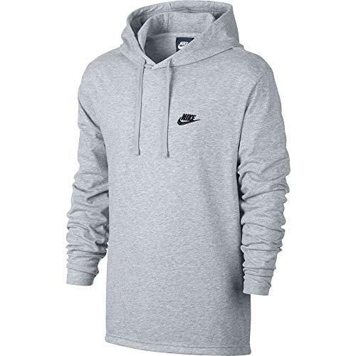 (Nike Mens Sportswear Pull Over Hooded Long Sleeve Shirt Birch Heather/Black 807249-051 Size 2X-Large)