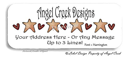 60 Country Primitive Hearts and Stars Rustic Labels Personalized Return Address ()