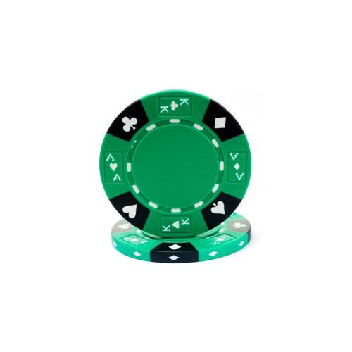 (Trademark Poker Ace/King Suited Tri-Color 100 Poker Chips, 14gm, Green)