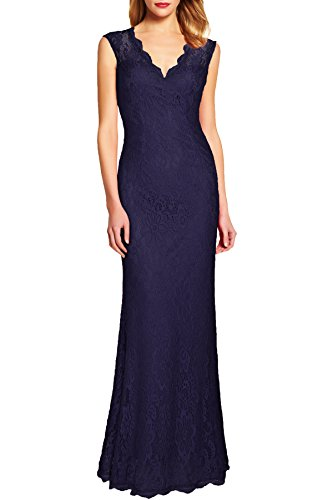 WOOSEA Women's Retro Floral Lace Vintage Wedding Maxi Bridesmaid Long Dress (Medium, Navy Blue)