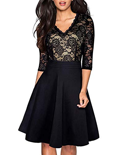 CNFIO Women Long Sleeve Vintage Party Dress Floral Lace V Neck Cocktail Formal Swing A Line Dress Black L
