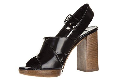 tacco pelle sandali nero spazzolato Prada con donna qgFwSH