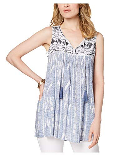 Style & Co Womens Front Yoke Embroidered Mixed-Print Blue Peasant Top Medium
