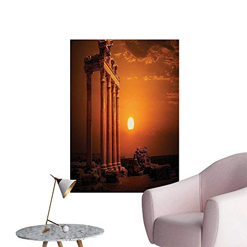 Wall Stickers for Living Room Ancient Rome Empire uments Columns Sun Picture Orange and White Vinyl Wall Stickers Print,32