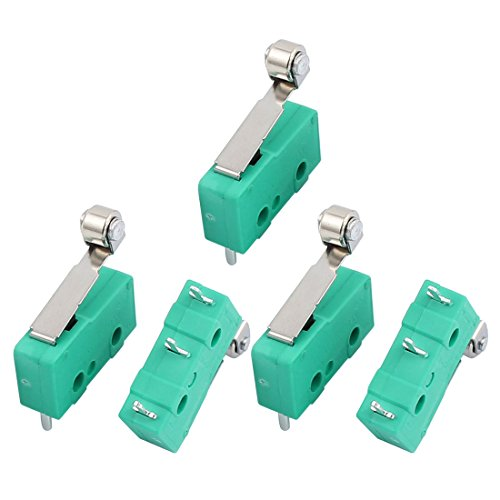 uxcell 5Pcs AC250/125V 3A Micro Limit Switch SPDT 3 Terminal Momentary 18mm Lever Arm Hinge Roller Green KW12-2S