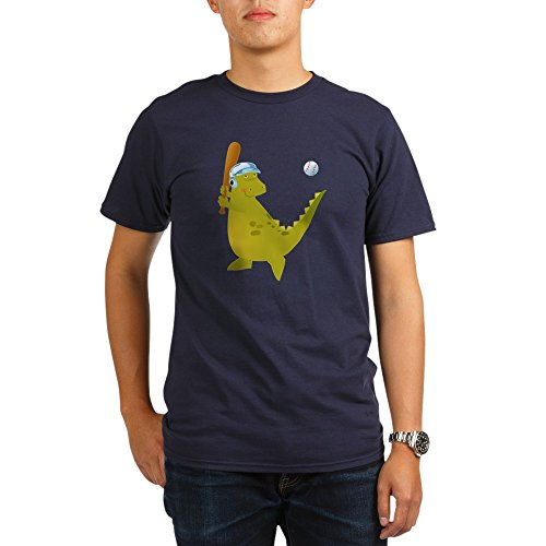 Truly Teague Organic Men's T-Shirt Dark Baseball Playing Dinosaur - Pacific, Medium