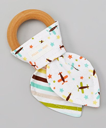 Striped Airplane (Natural Organic Maple Wooden Teething Ring Toy - Bunny Ears Teether - 100% Airplane & Striped Cotton Front & Back - Great alternative to plastic teether)