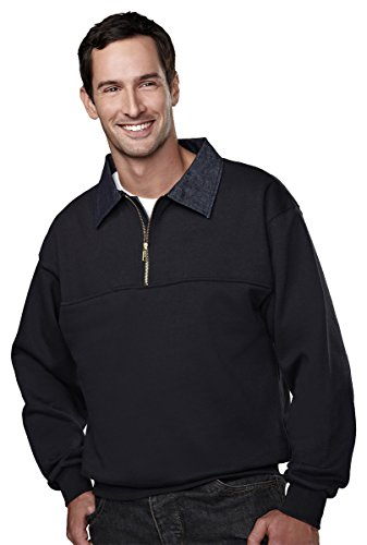 Denim Collar Job Shirt - Tri-mountain Cotton/poly 1/4 zip firefighters work shirt with denim. 645 - NAVY_M