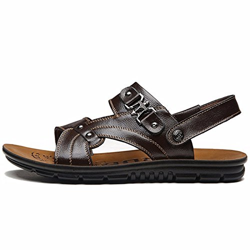 Das neue Männer Sommer Strand Schuh Männer Schuh Leder Sandalen Sandalen Leder Mode Trend Dicker Boden Freizeit ,braun ,US=7,UK=6.5,EU=40,CN=40