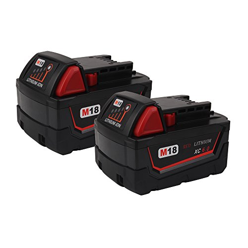 VANON 6.0Ah 18V Li-ion Rechargeable Replacement Battery for Milwaukee M18 M18B 48-11-1820 48-11-1850 48-11-1828 48-11-10 Cordless Power Tools (2- Pack) by VANON