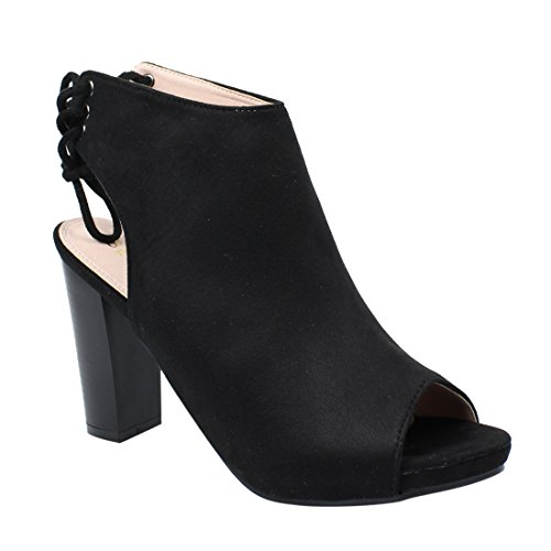 Beston DE18 Women's Back Lace Up Cut Out Peep Toe Ankle Heels Run One Size Small, Color:BLACK, Size:8