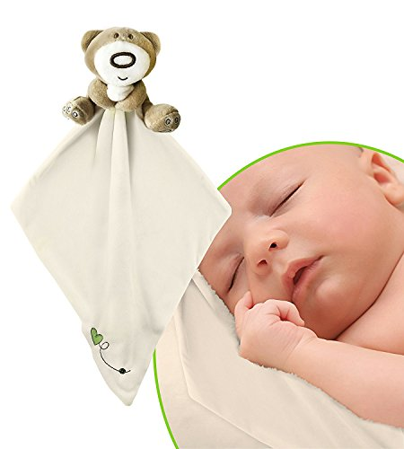 Teddy Bear Snuggle Blankie. Plush Infant Security Blanket for Boys and Girls with Adorable Teddy Bear. Soothing and Fun, Light Yellow Color Animal Blankie. Safe For Children Material, Fully (Infant Yellow Teddy Bear)