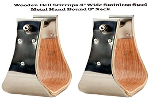 PRORIDER Horse Saddle Wooden Bell Stirrups 5-1/2