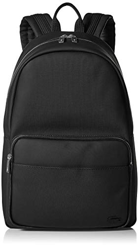 Lacoste Men's Solid Large Zip Backpack, Black, 00