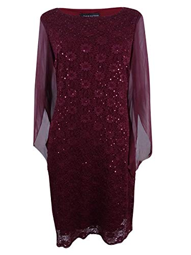 (Connected Apparel Sequin Lace Chiffon Bell Sleeves Dress Red 10)