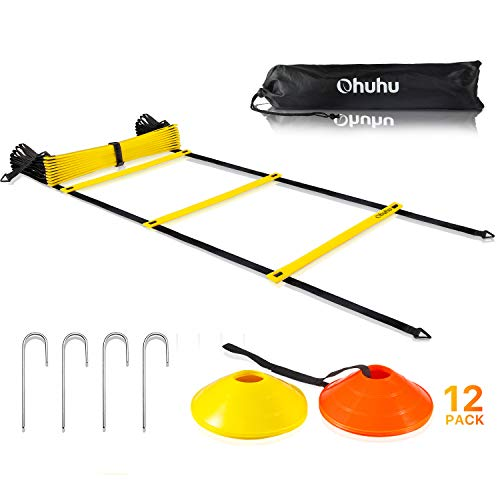 Ohuhu Agility Ladder Training Set - 12 Rung Speed Ladder with 12 Field Cones and 4 Stakes, Footwork Equipment for Soccer Football Drills