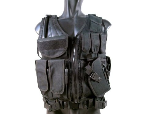 MetalTac Tactical Vest Cross Draw with 9 Pockets and Pistol Holster Protection by MetalTac