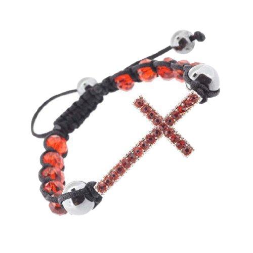 10mm Rhinestone Sideways Cross Bracelet, Red Faceted Honesty Bracelet