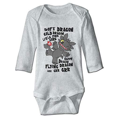 - Night Light Fury Long Sleeve Baby Onesie Bodysuits (6M) Gray