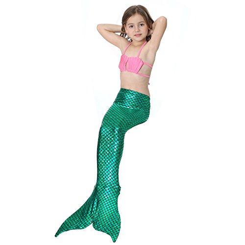 per nuotare sirena da Pink scintillante con di Top With monopinna bagno SAIANKE Green coda CXwEqxI6