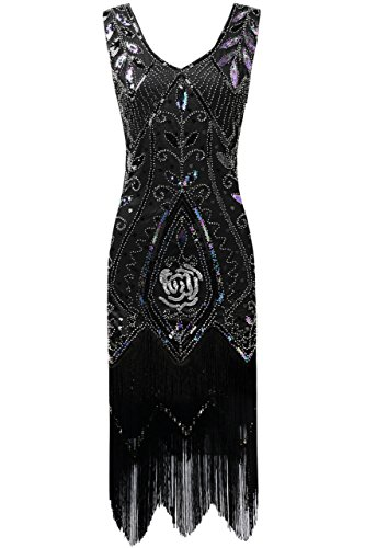 BABEYOND 1920s Flapper Fancy Dress Art Deco Fringed Sequin Dress Roaring 20s Gatsby Costume Dress Vintage Beaded Evening Dress (Lavender Black, Large)