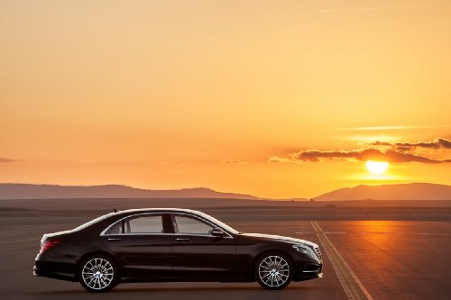 Mercedes-Benz S Class (2014) Car Art Poster Print on 10 mil Archival Satin Paper Black Passenger Side Parked Sunset View 36