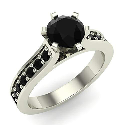 3/4 ct tw Black Diamond Engagement Ring 14K White Gold on Sterling (Ring Size 7) ()