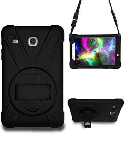 Galaxy Tab E 8.0 Case, STLDM Heavy Duty Shockproof Three Layers Hybrid Armor Impact Resistant Full-Body Protective Case Cover for Samsung Galaxy Tab E 8.0 Inch Tablet(SM-T377/SM-375) Black