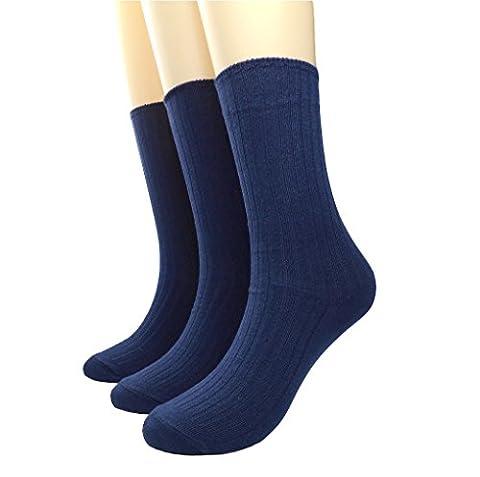 BLACOCO Women's Pure Color Simple Sock Soft Comfort Casual Cotton Crew Socks (Navy Blue) - Blue Color Cotton