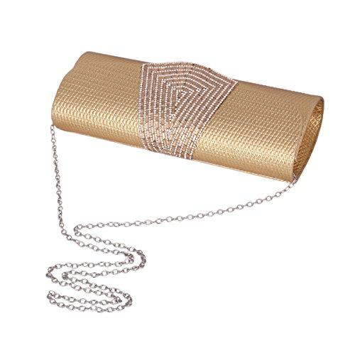 Day of Saturn Empleadoras Clutch De Cuero Brillante Solapa Con Diamantes Blings Lindo Por Fiestas Tipo Cuadrado,Plateado Gris