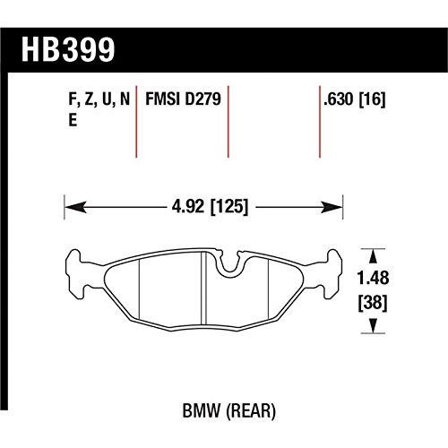 Hawk 91 BMW 318i E30 All DTC-70 Rear Brake Pads (hb399u.630)