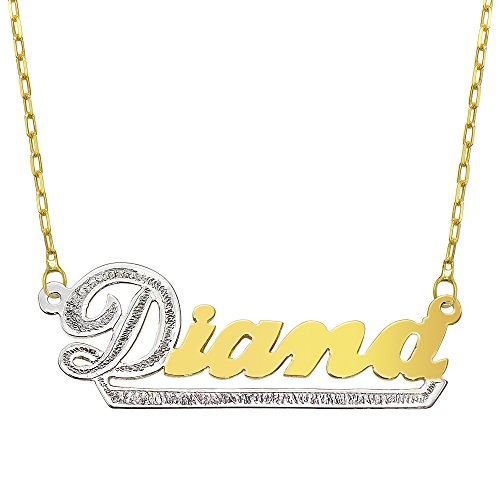 Tone Gold Plate (14K Two Tone Gold Personalized Name Plate Necklace - Style 10 (18 Inches, Oval Rolo)