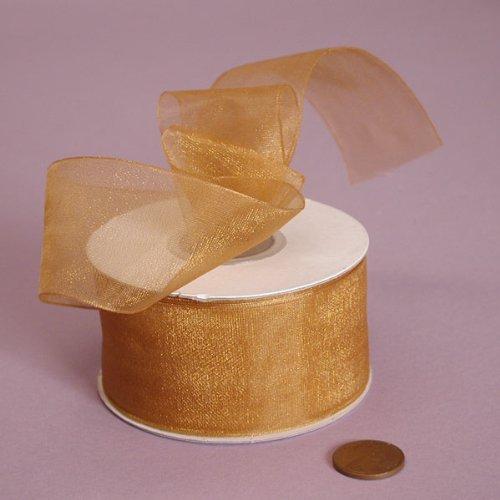Old Gold Shimmer Sheer Organza Ribbon, 1-1/2
