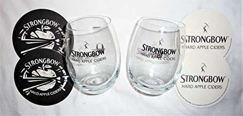 Strongbow Hard Apple Cider Glass Set w/Coasters ~ 2 Pack