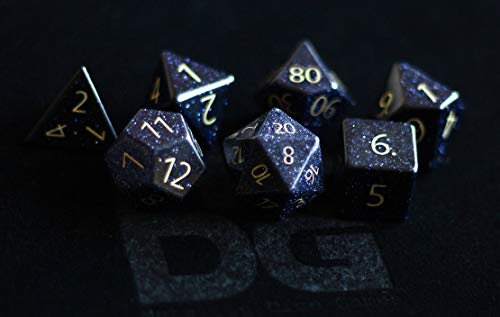 Engraved Blue Sandstone Gemstone Polyhedral Dice Set: Hand Carved Full-Sized 16mm. Great for DND RPG Dungeons and ()