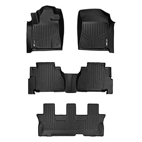 (MAXLINER Custom Fit Floor Mats 3 Row Liner Set Black for 2008-2011 Toyota Sequoia with Bench Seats )