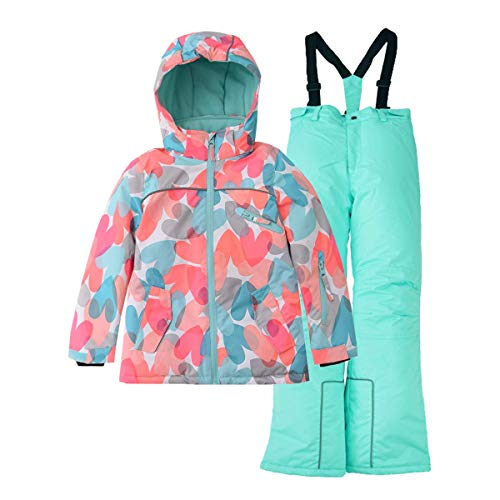 (Hiheart Girls Warm Snowsuit Hooded Ski Jacket + Pants 2 Pcs Set (8/9, Coral Heart))