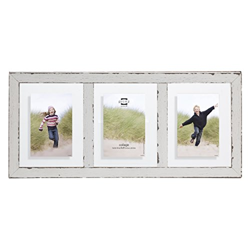 Prinz 3-Opening Bristol Distressed Wood Float Frame, 4 by 6-Inch, White