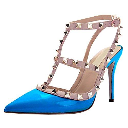 A Femme Blue Hauts Décoration Chaussure Talons Rivet Oasap Aiguilles Talons Sky Bout Fermé Tgn4Zxq