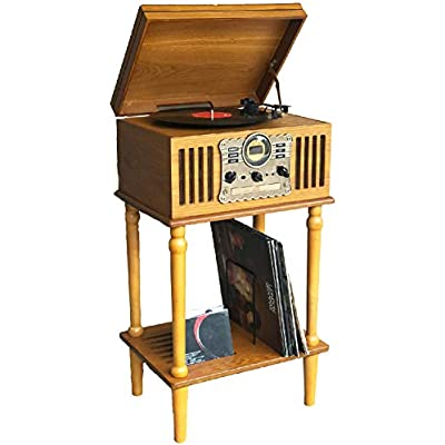 Steepletone Westminster 2019  with STAND  Nostalgic DAB Radio Music Centre  Speed Record Player  Player  Cassette Player  USB MP3 RECORDING  Remote Control  Real Wood Veneer  Light