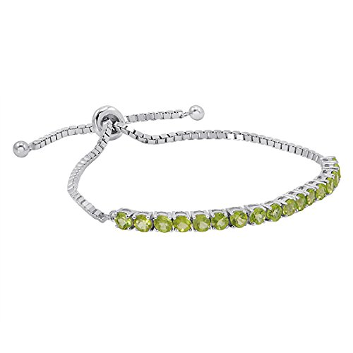 Peridot Bolo Bracelet in Sterling Silver (Adjustable 4-10 inches)