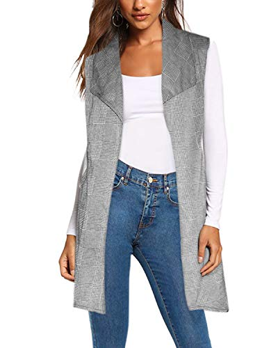Women's Vest Jacket Cardigan Blazer with self Fabric Belt KJK1142 091214 Black/IVOR XL (Holiday Jacket Womens)